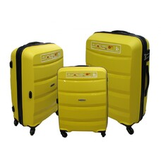 Набор полипропиленовых чемоданов Airtex (большой, средний, малый) желтый Newstar 229